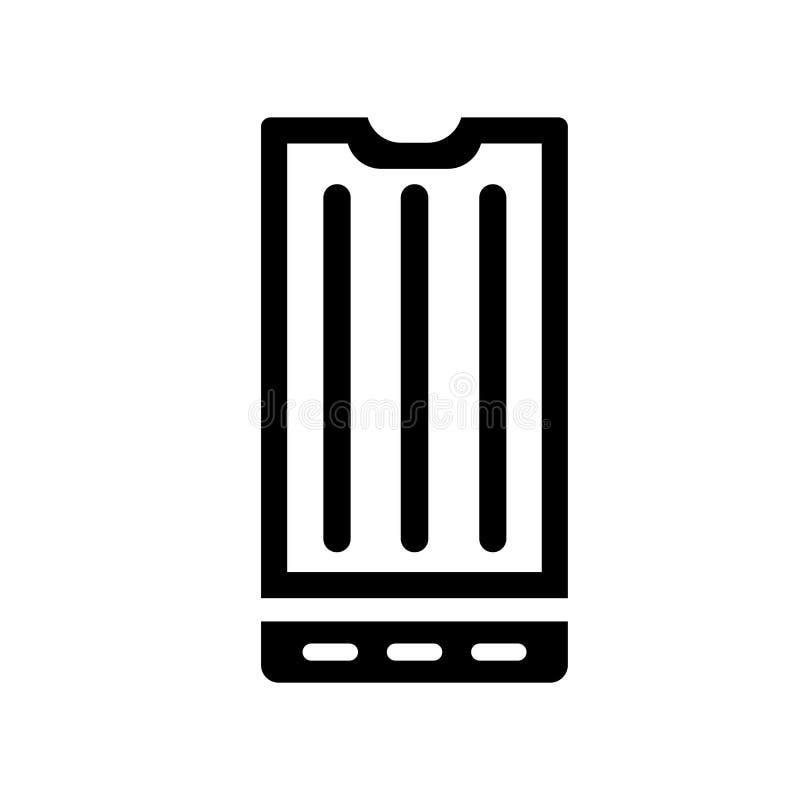 Вектор значка экрана смартфона большой изолированный на белой предпосылке, знаке экрана смартфона большом, символах конструкции иллюстрация вектора