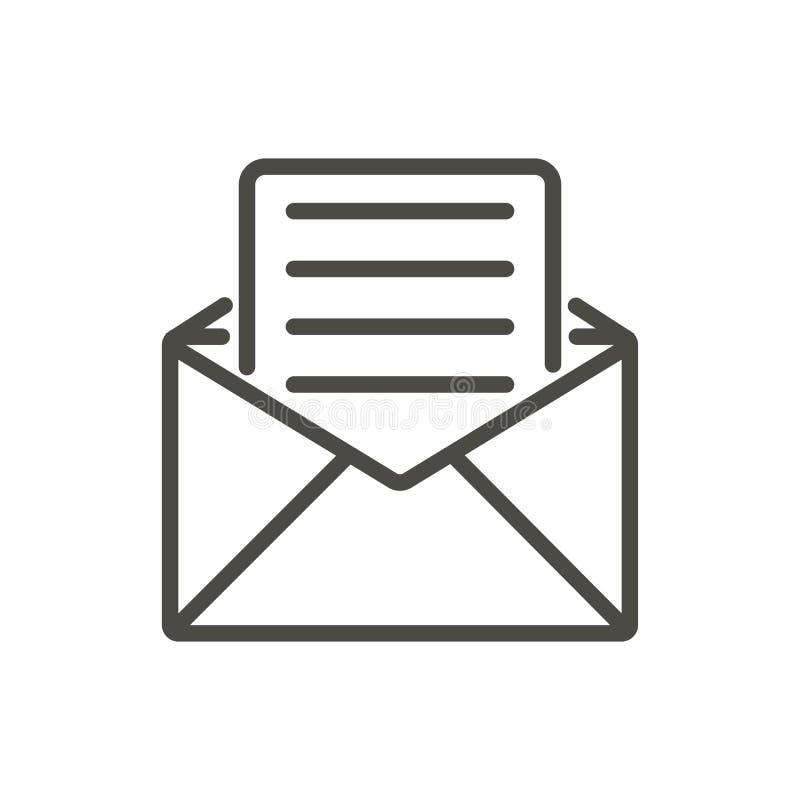 Вектор значка электронного письма Линия открытый символ почты бесплатная иллюстрация