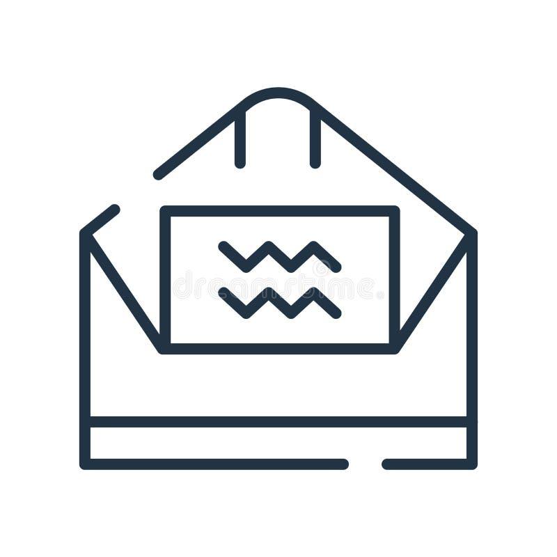 Вектор значка электронной почты изолированный на белой предпосылке, отправляет знак, линию символ или линейный дизайн по электрон иллюстрация штока