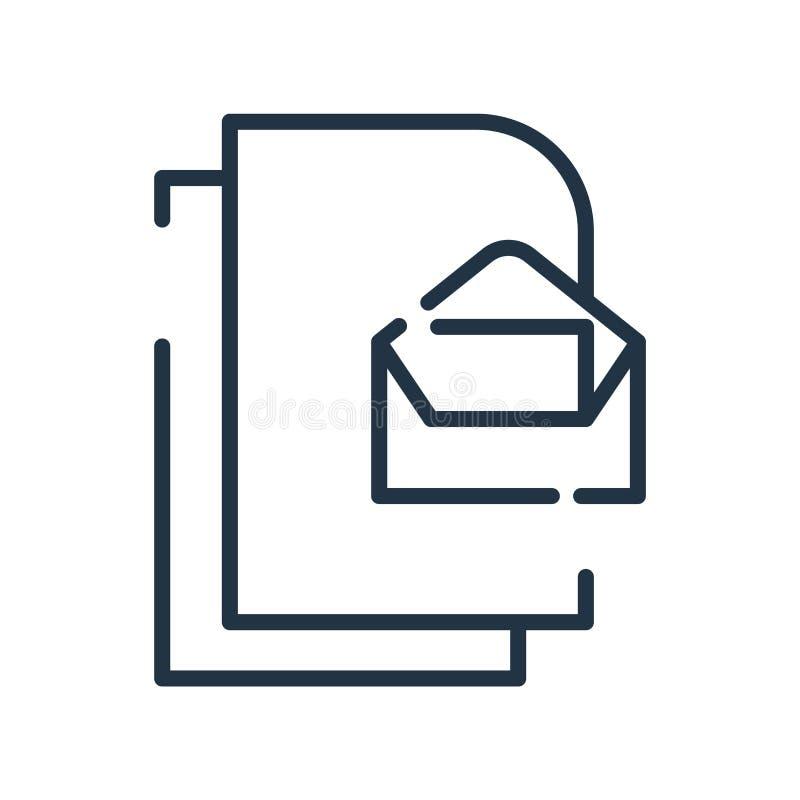 Вектор значка электронной почты изолированный на белой предпосылке, отправляет знак, линию символ или линейный дизайн по электрон бесплатная иллюстрация