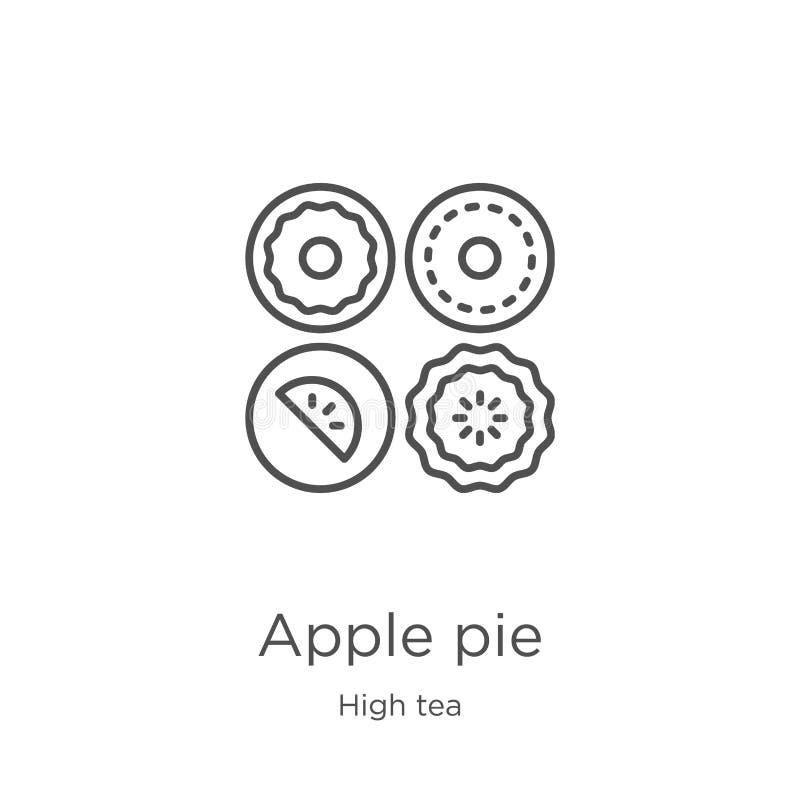 вектор значка яблочного пирога от собрания плотного ужина с чаем Тонкая линия иллюстрация вектора значка плана яблочного пирога П иллюстрация штока