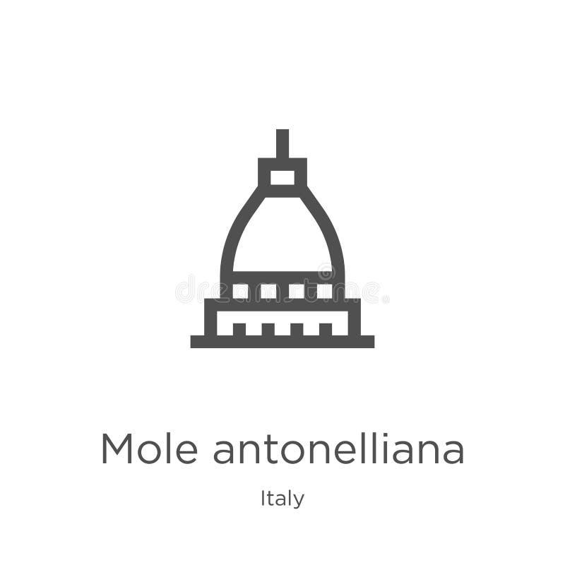 вектор значка antonelliana моли от собрания Италии Тонкая линия иллюстрация вектора значка плана antonelliana моли r иллюстрация вектора
