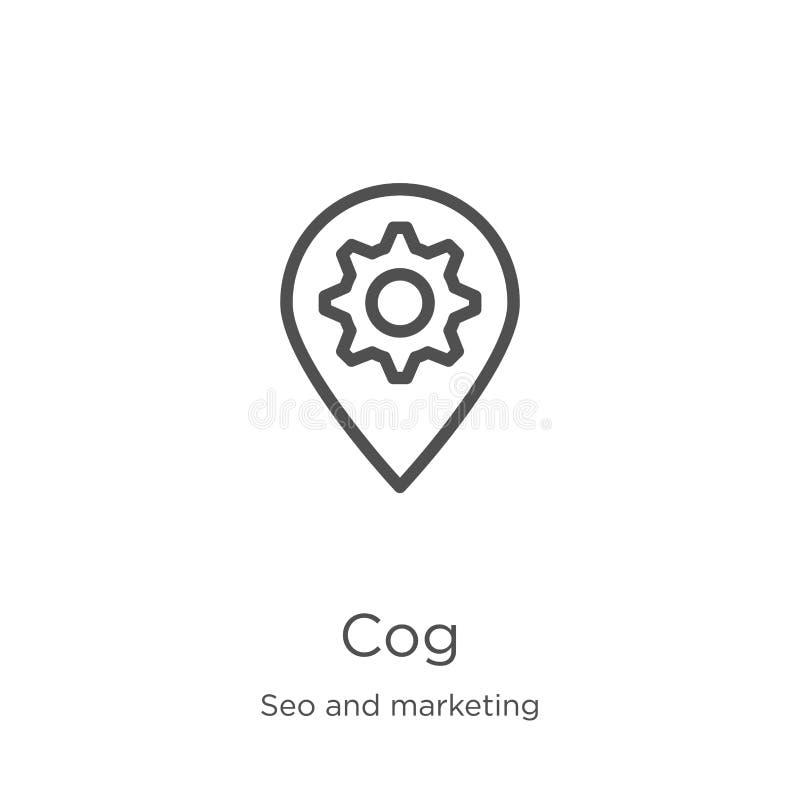 вектор значка cog от собрания seo и маркетинга Тонкая линия иллюстрация вектора значка плана cog План, тонкая линия значок cog дл иллюстрация штока