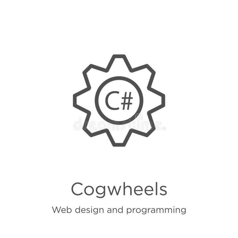 вектор значка cogwheels от веб-дизайна и программируя собрания Тонкая линия иллюстрация вектора значка плана cogwheels r иллюстрация штока