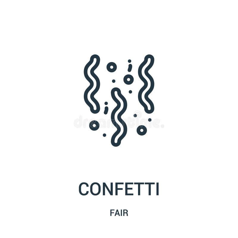 вектор значка confetti от справедливого собрания Тонкая линия иллюстрация вектора значка плана confetti Линейный символ для польз иллюстрация штока