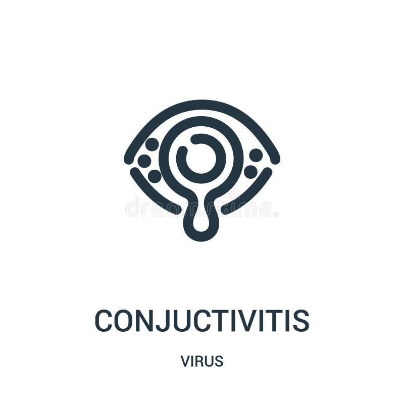 вектор значка conjuctivitis от собрания вируса Тонкая линия иллюстрация вектора значка плана conjuctivitis иллюстрация вектора