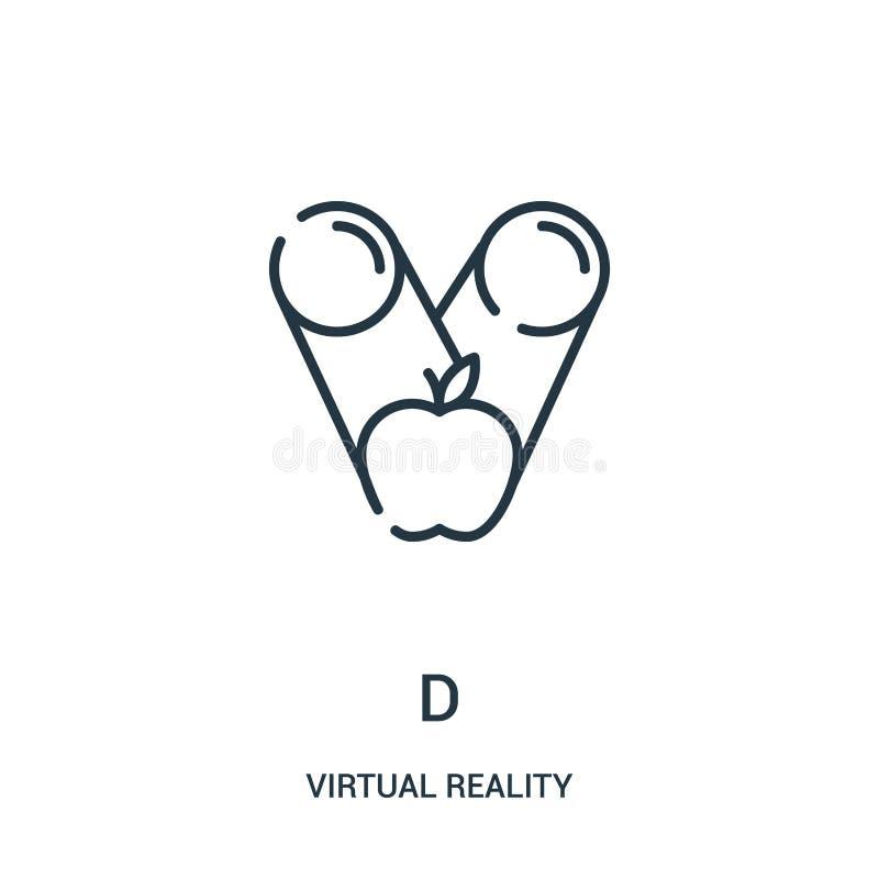 вектор значка d от собрания виртуальной реальности Тонкая линия иллюстрация вектора значка плана d бесплатная иллюстрация