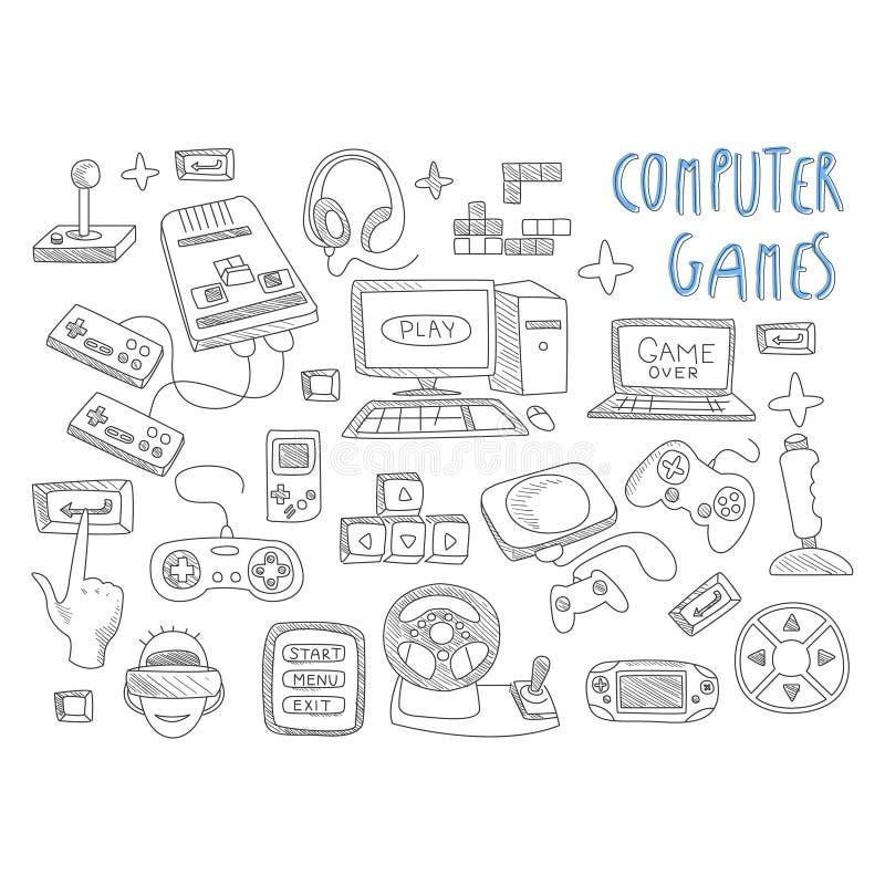 Вектор значка doodles компютерных игр установленный иллюстрация штока
