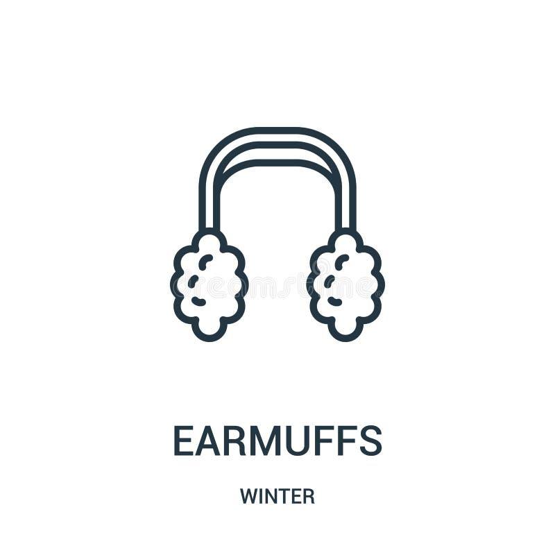 вектор значка earmuffs от собрания зимы Тонкая линия иллюстрация вектора значка плана earmuffs Линейный символ для пользы на сети иллюстрация штока