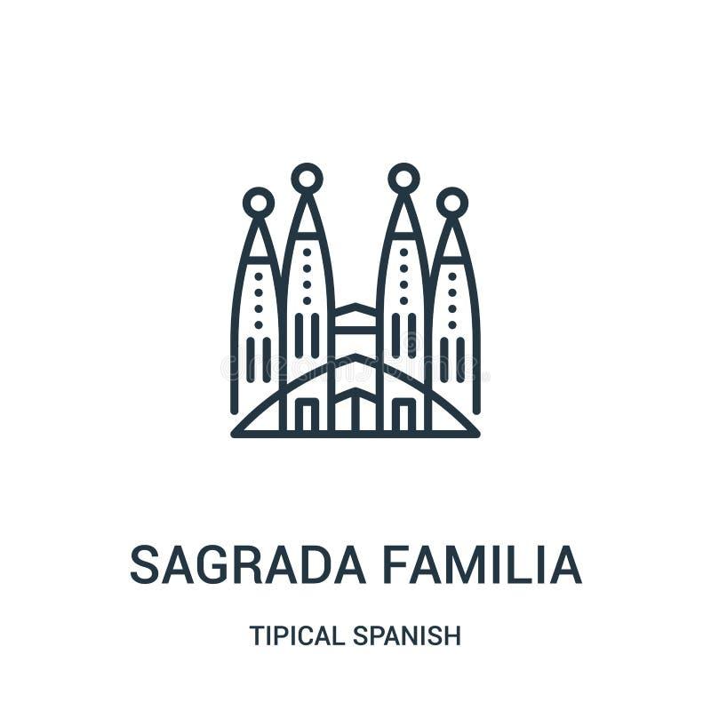 вектор значка familia sagrada от tipical испанского собрания Тонкая линия иллюстрация вектора значка плана familia sagrada линейн иллюстрация вектора