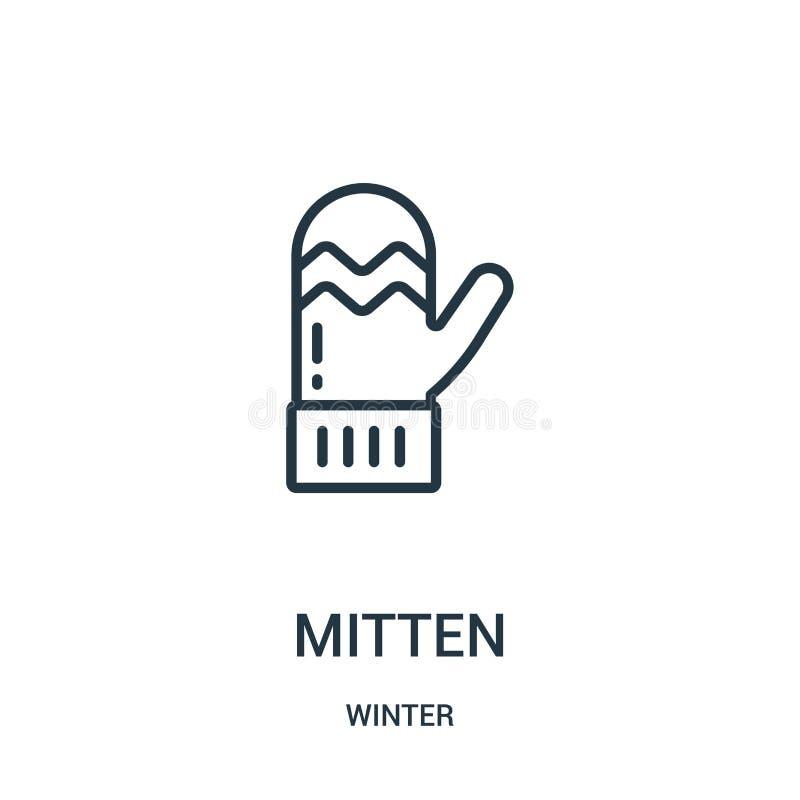 вектор значка mitten от собрания зимы Тонкая линия иллюстрация вектора значка плана mitten Линейный символ для пользы на сети и бесплатная иллюстрация