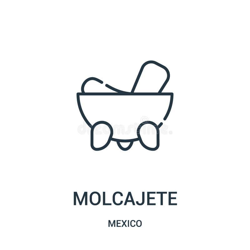 вектор значка molcajete от собрания Мексики Тонкая линия иллюстрация вектора значка плана molcajete бесплатная иллюстрация