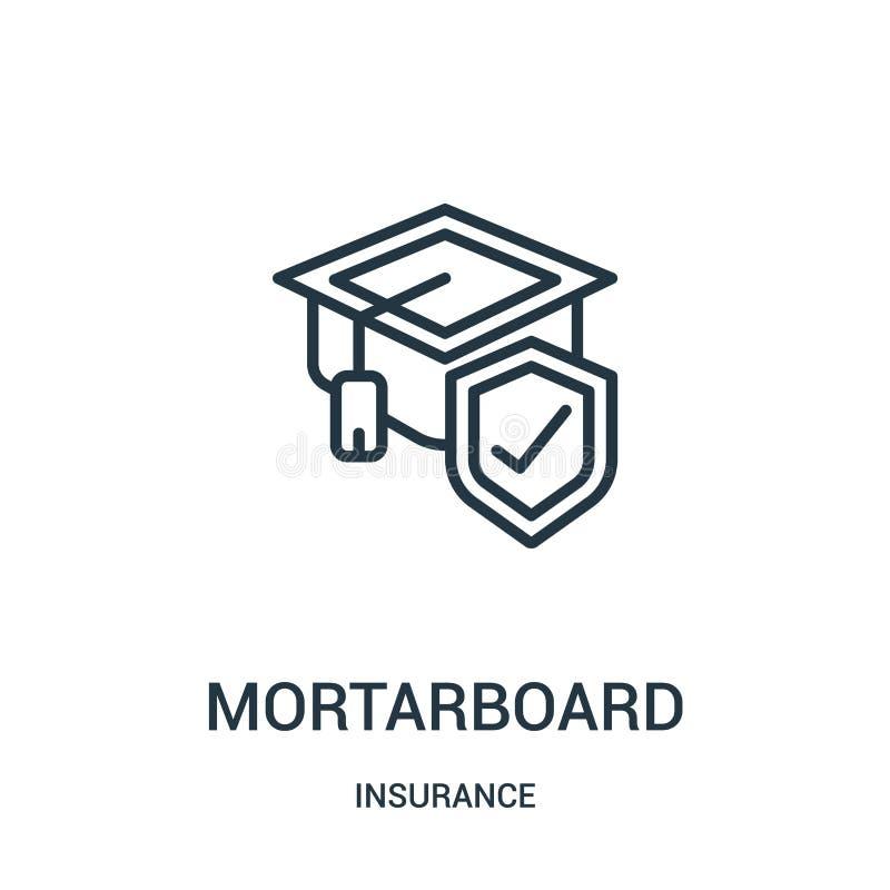 вектор значка mortarboard от собрания страхования Тонкая линия иллюстрация вектора значка плана mortarboard r бесплатная иллюстрация