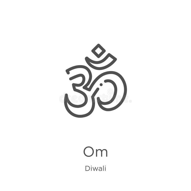 вектор значка om от собрания diwali Тонкая линия иллюстрация вектора значка плана om План, тонкая линия значок om для вебсайта иллюстрация вектора