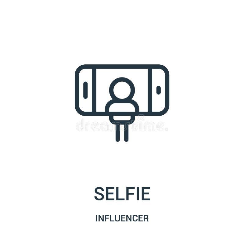 вектор значка selfie от собрания influencer Тонкая линия иллюстрация вектора значка плана selfie иллюстрация штока