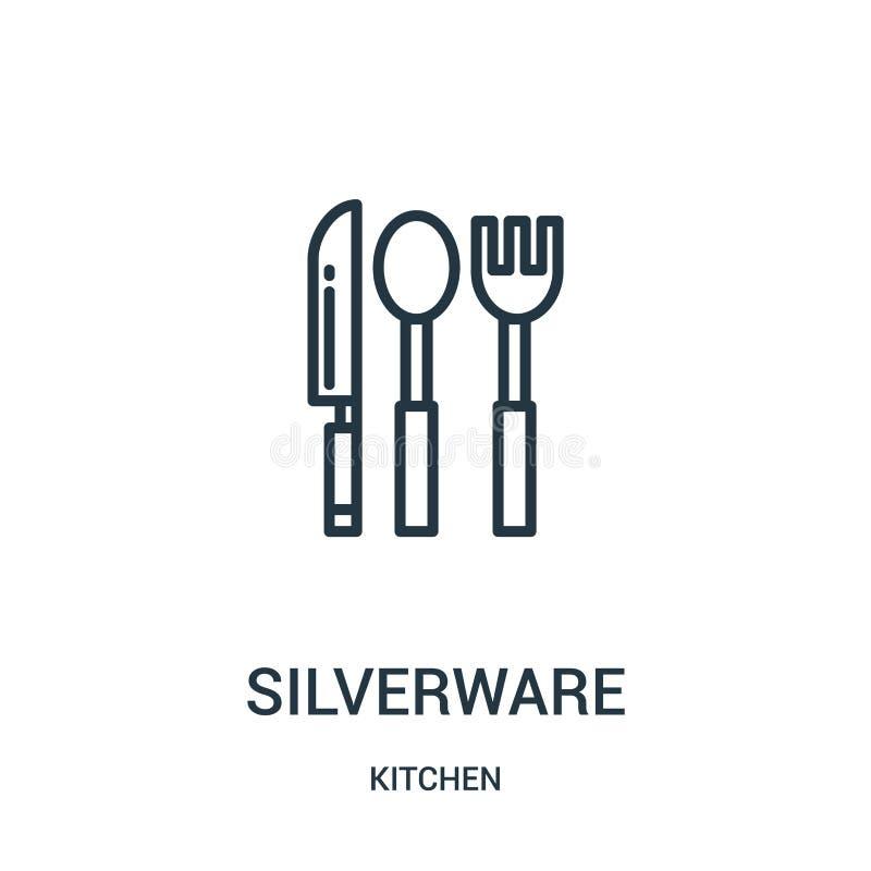 вектор значка silverware от собрания кухни Тонкая линия иллюстрация вектора значка плана silverware Линейный символ для пользы да иллюстрация штока
