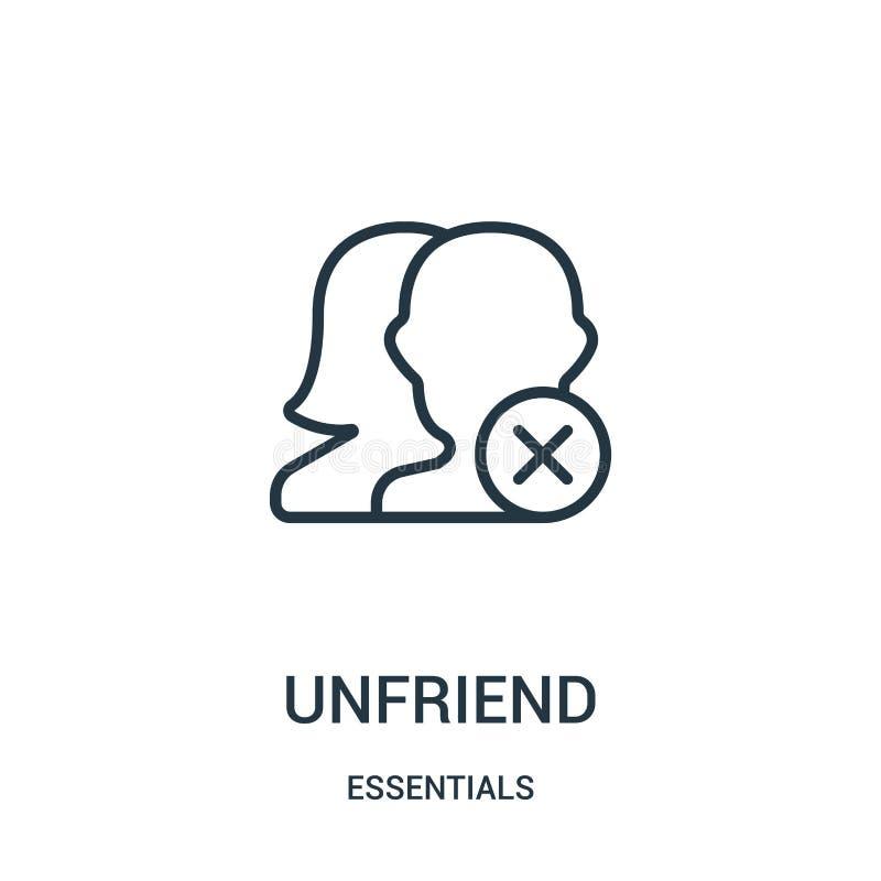 вектор значка unfriend от собрания предметов первой необходимости Тонкая линия иллюстрация вектора значка плана unfriend Линейный иллюстрация вектора