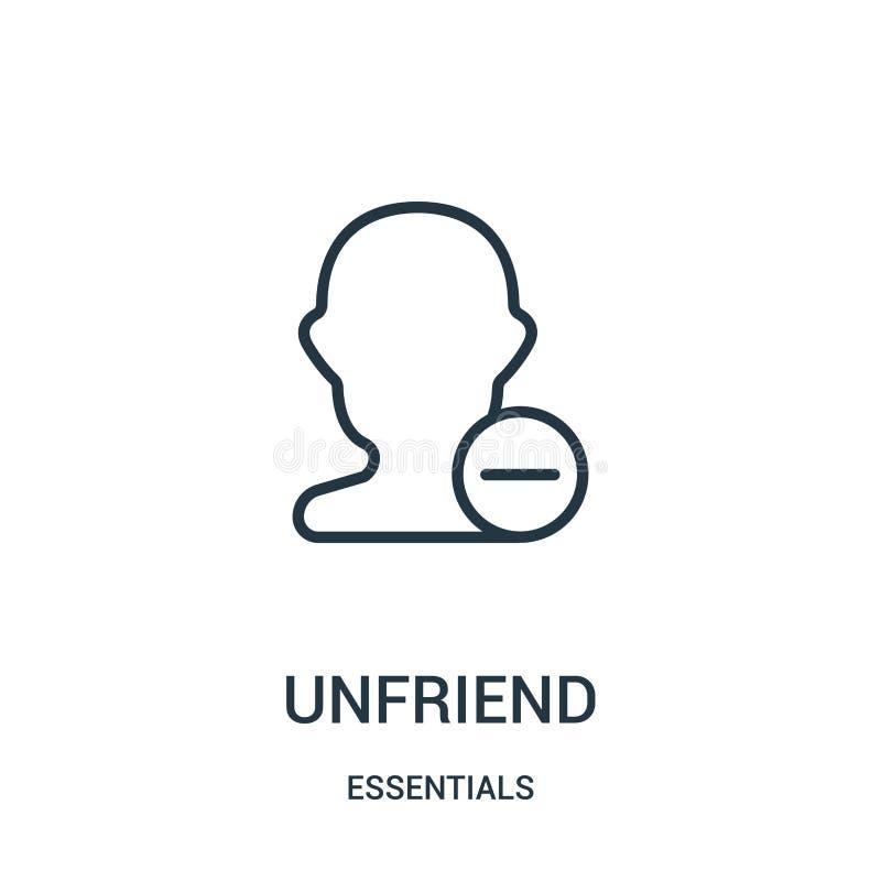 вектор значка unfriend от собрания предметов первой необходимости Тонкая линия иллюстрация вектора значка плана unfriend Линейный иллюстрация штока