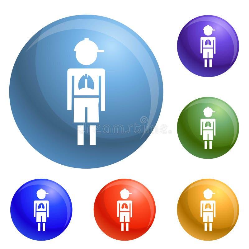 Вектор значков вируса пневмонии мальчика девушки установленный иллюстрация штока