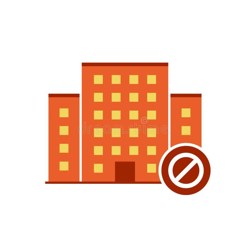 Вектор значков зданий с позволенным знаком Городской запрещенные значок и блок имущества, запрещают символ бесплатная иллюстрация