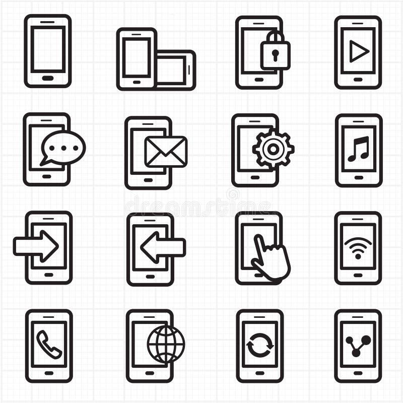 Вектор значков мобильного телефона иллюстрация вектора