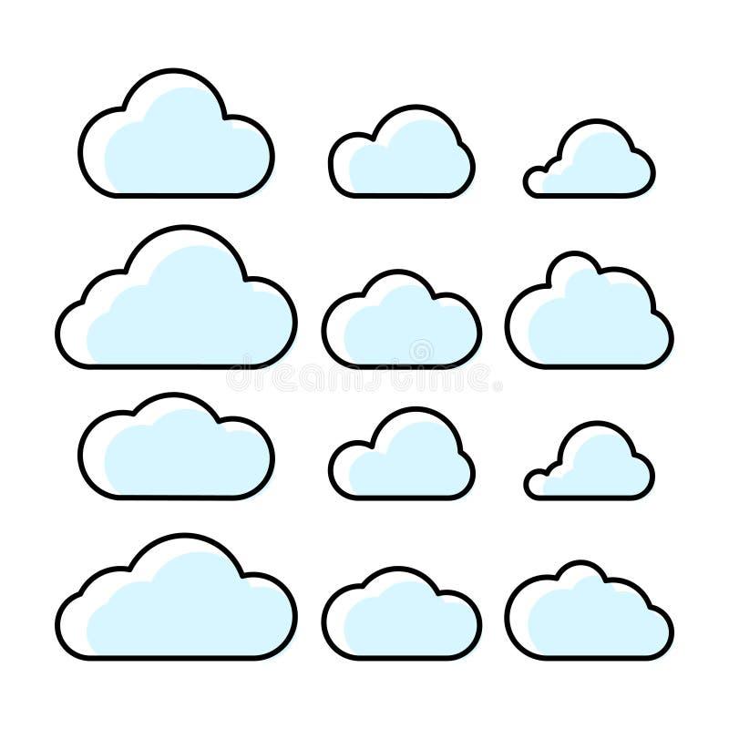 Вектор значков облаков установленный Символы облака плана с заполнением иллюстрация вектора