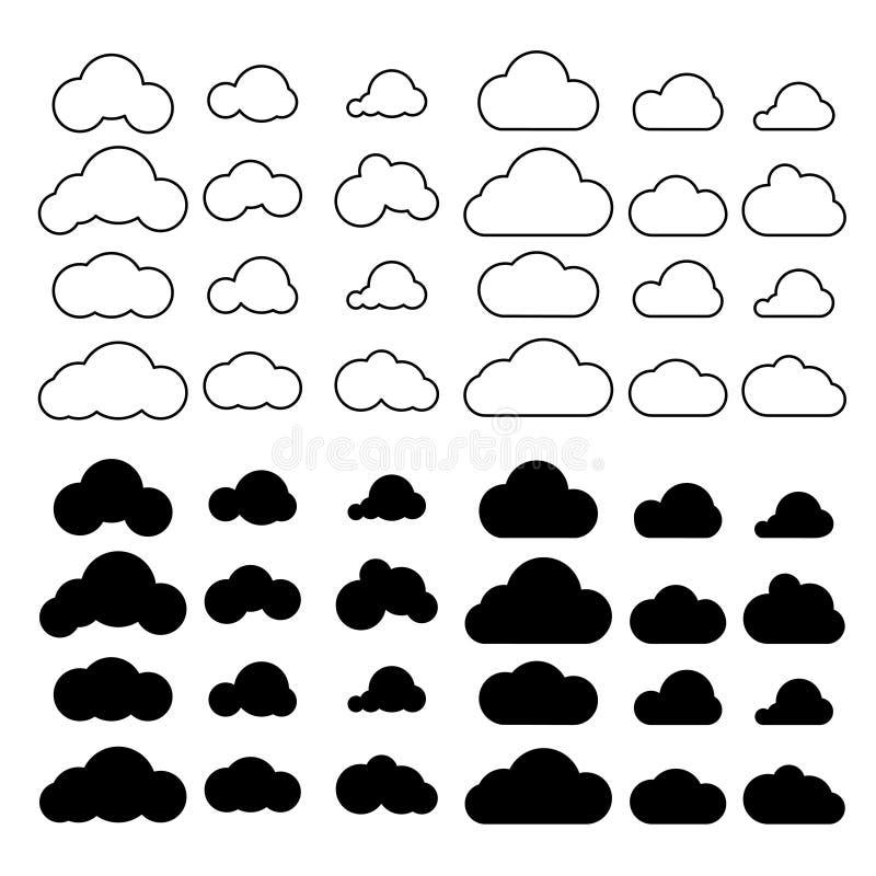 Вектор значков облаков установленный Символы облака плана с заполнением иллюстрация штока