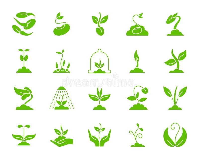 Вектор значков силуэта ростка зеленый установил на белизну бесплатная иллюстрация