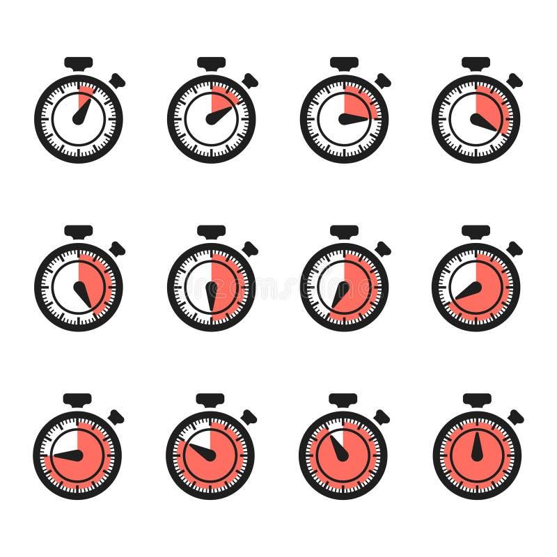 Вектор значков таймера Набор секундомера изолированный на белой предпосылке иллюстрация штока