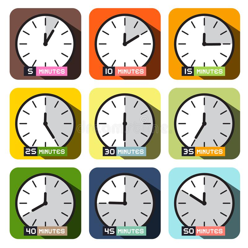 Вектор значков часов Различный набор таймеров иллюстрация вектора