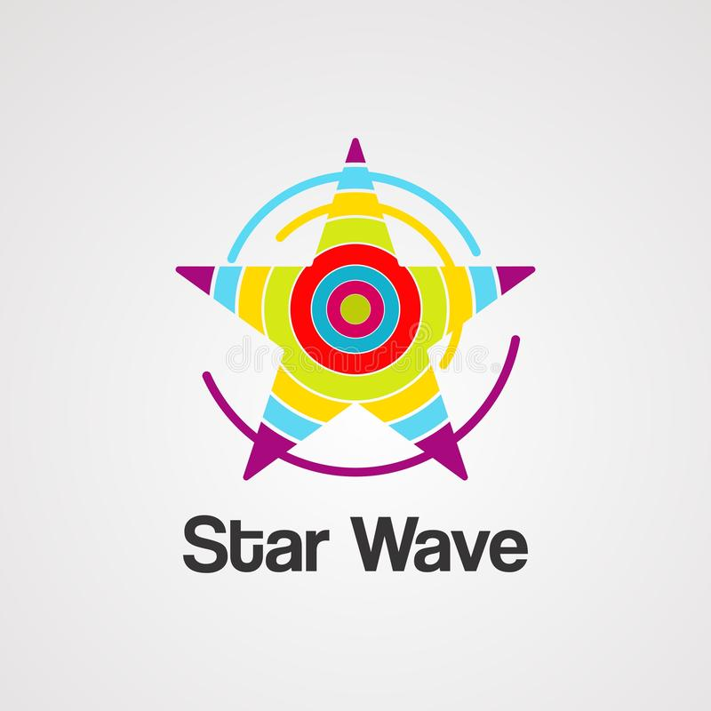 Вектор, значок, элемент, и шаблон логотипа волны звезды иллюстрация штока