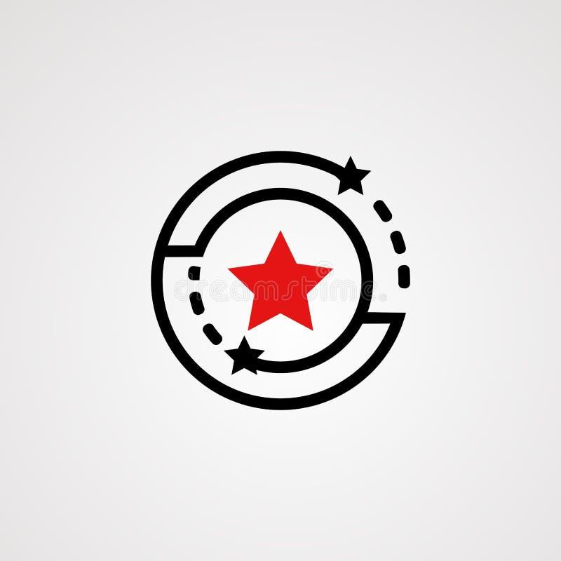 Вектор, значок, элемент, и шаблон логотипа звезды круга иллюстрация штока