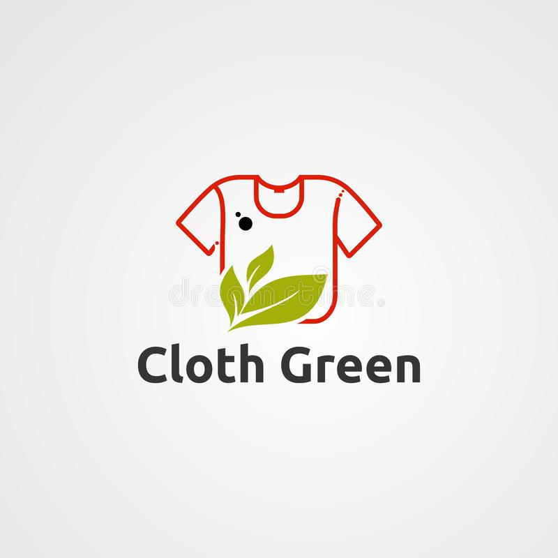 Вектор, значок, элемент, и шаблон логотипа зеленого цвета ткани для дела иллюстрация вектора