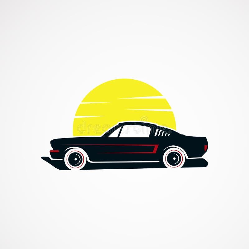 Вектор, значок, элемент, и шаблон логотипа концепции солнца автомобиля ретро винтажный для компании иллюстрация штока