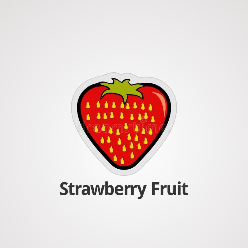 Вектор, значок, элемент, и шаблон логотипа плода клубники иллюстрация вектора