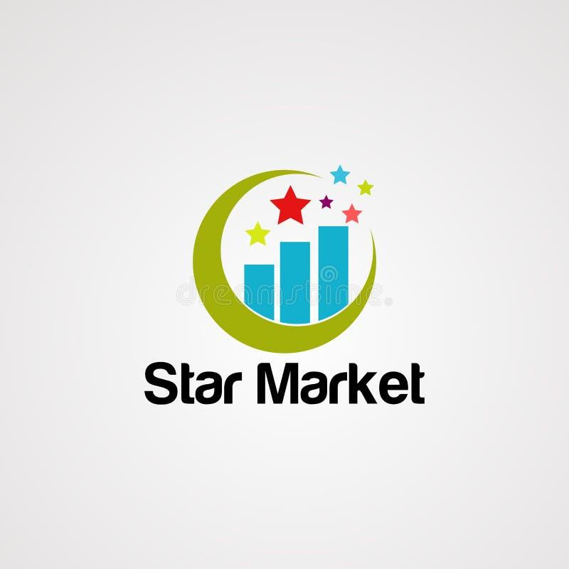 Вектор, значок, элемент, и шаблон логотипа рынка звезды иллюстрация вектора