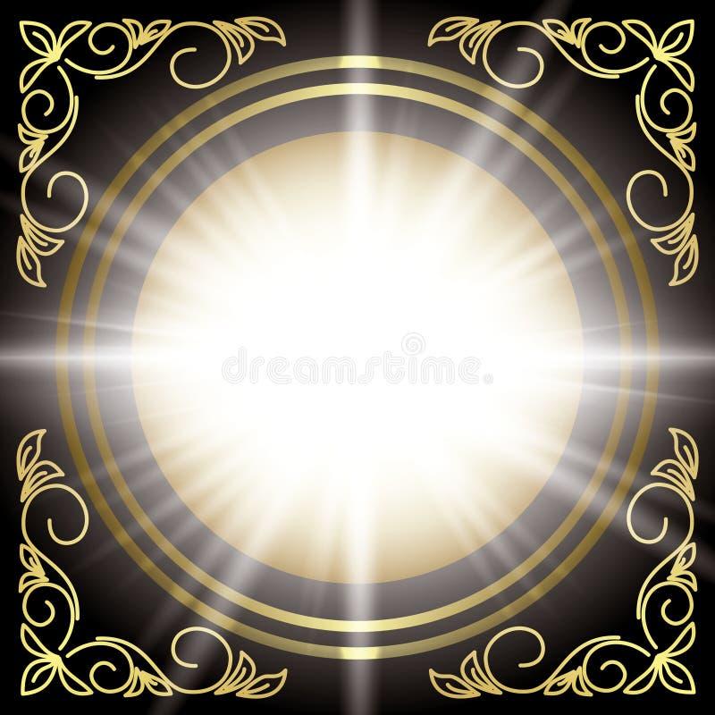 вектор золота черной вспышки декора карточки флористический бесплатная иллюстрация