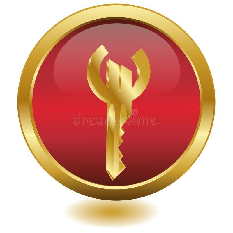 вектор золотистого ключа евро кнопки 3d иллюстрация штока