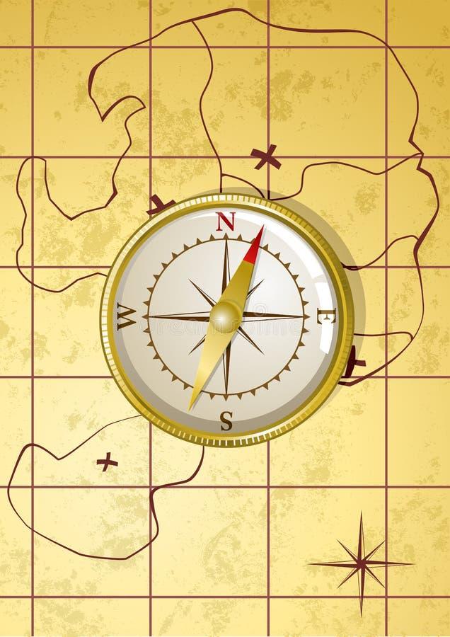 вектор золотистой карты компаса старый бесплатная иллюстрация
