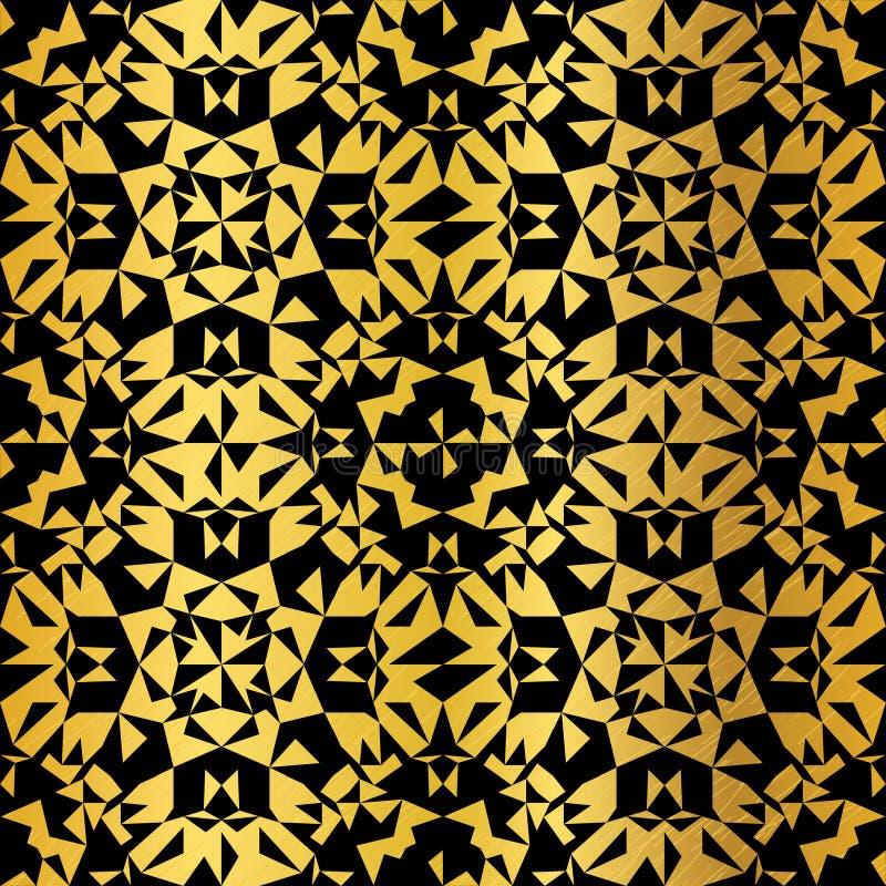 Вектор золотой на предпосылке картины черной абстрактной текстуры фольги Grunge треугольников калейдоскопа безшовной Большой для иллюстрация вектора