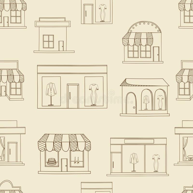 Вектор зданий магазина безшовный ретро бесплатная иллюстрация