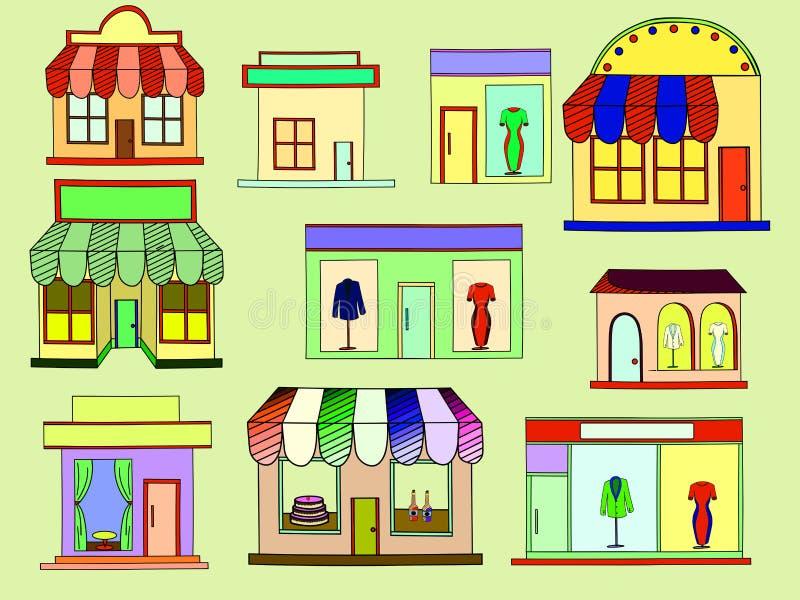 Вектор зданий магазина бесплатная иллюстрация