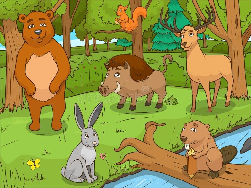 Вектор игры животных шаржа леса воспитательный бесплатная иллюстрация