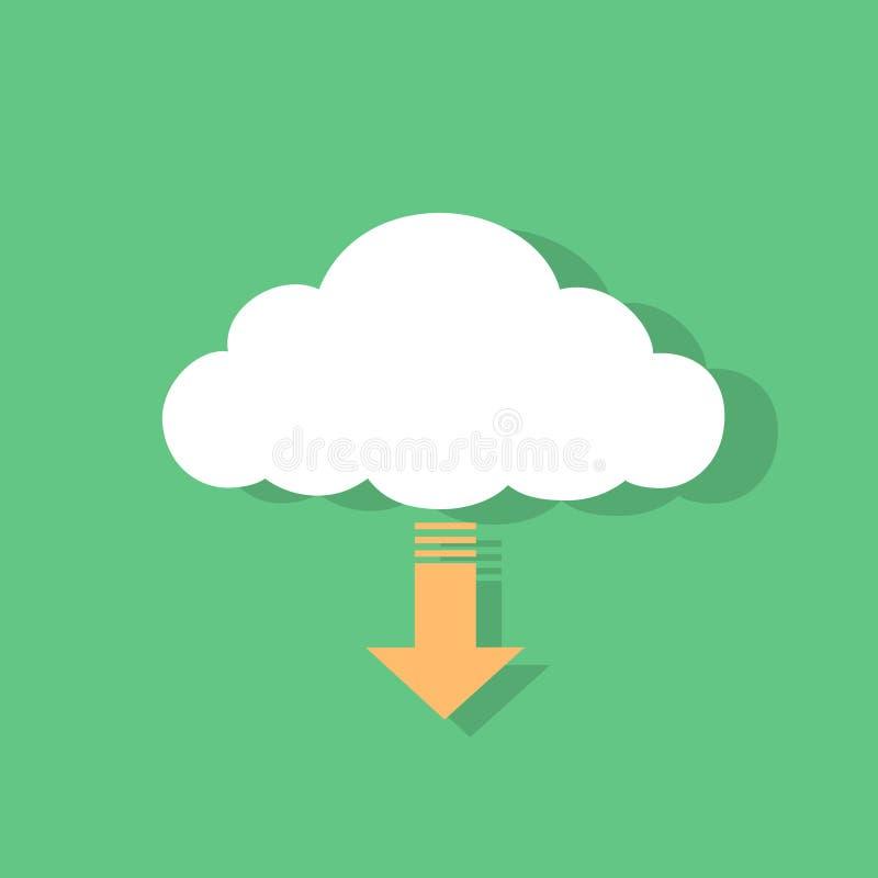 Вектор дизайна значка загрузки облака плоский бесплатная иллюстрация