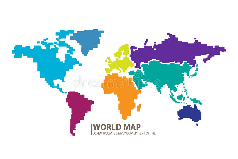 Вектор дизайна карты мира пикселов стоковое фото rf