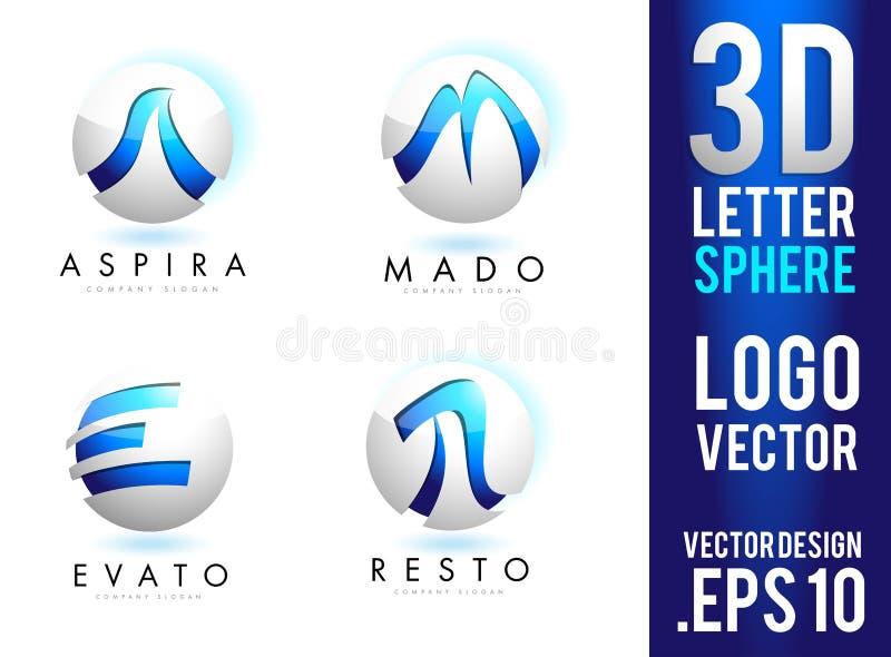вектор дизайна логотипа сферы письма 3D иллюстрация штока