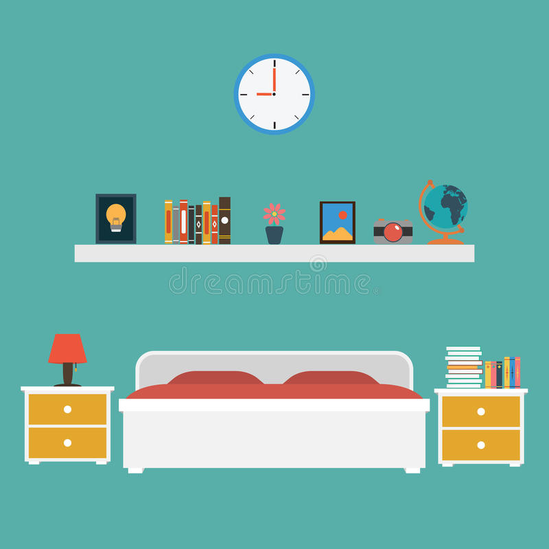 Вектор дизайна спальни плоского бесплатная иллюстрация