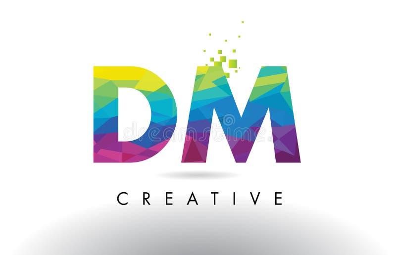 Вектор дизайна треугольников Origami письма в СМ d m красочный иллюстрация штока