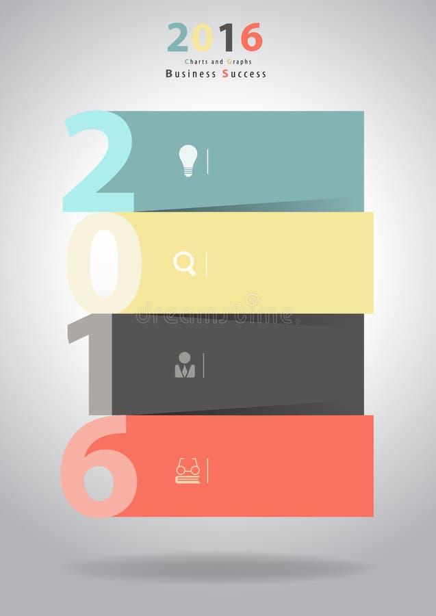 Вектор дизайн шаблона плана 2016 Новых Годов иллюстрация вектора