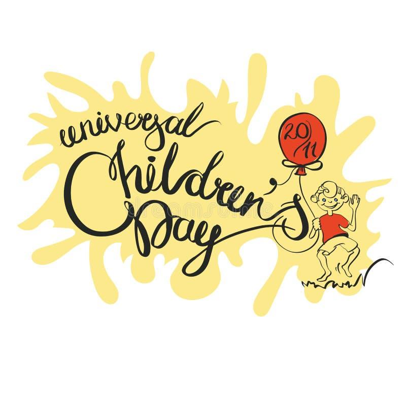 Вектор изолировал рукописный день детей s литерности на белой предпосылке Каллиграфия вектора для поздравительной открытки иллюстрация вектора